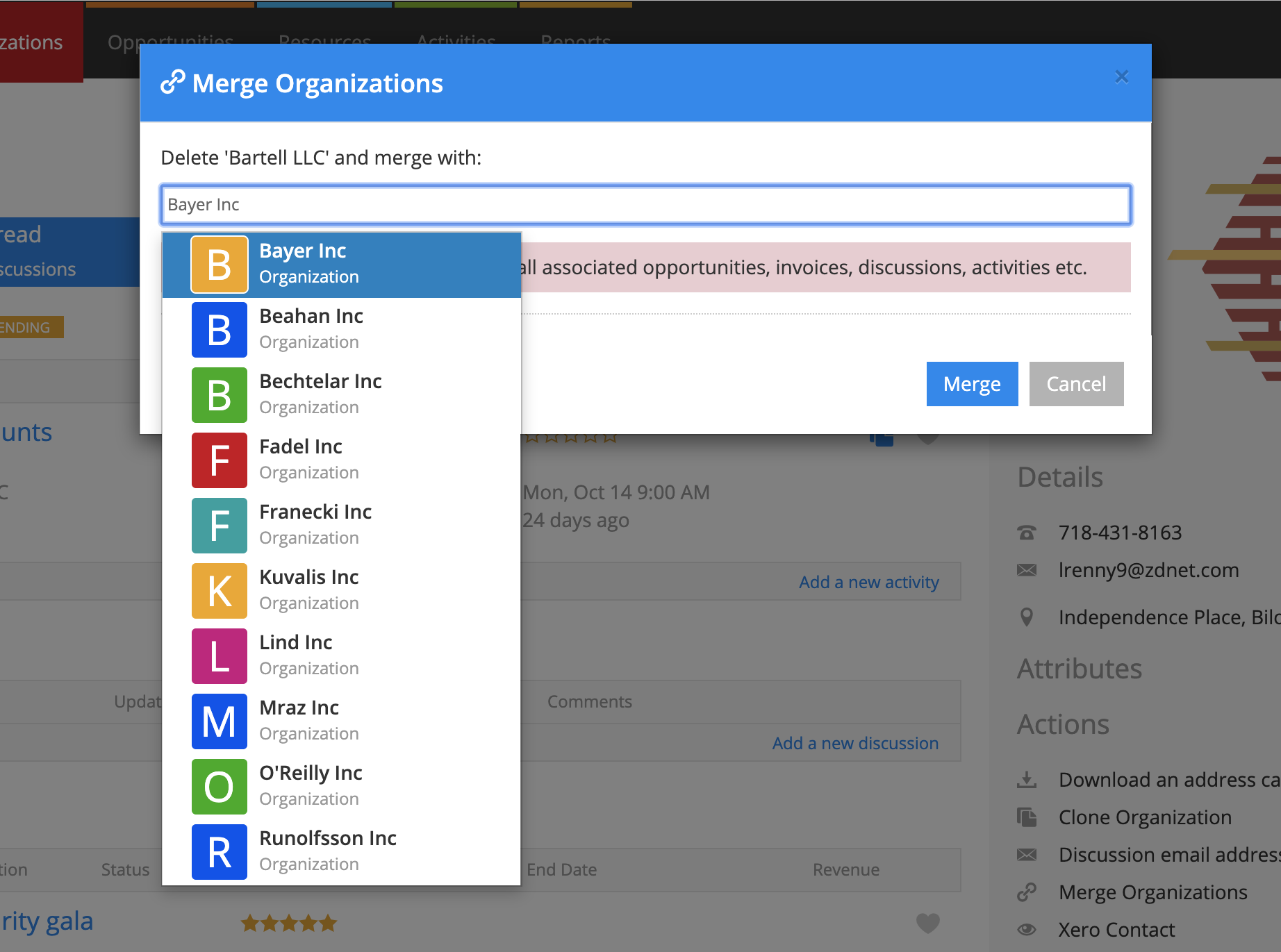 Merge one Organization to another in Current RMS