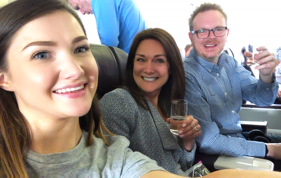 With a glass of bubbly in hand, we were ready for take off!