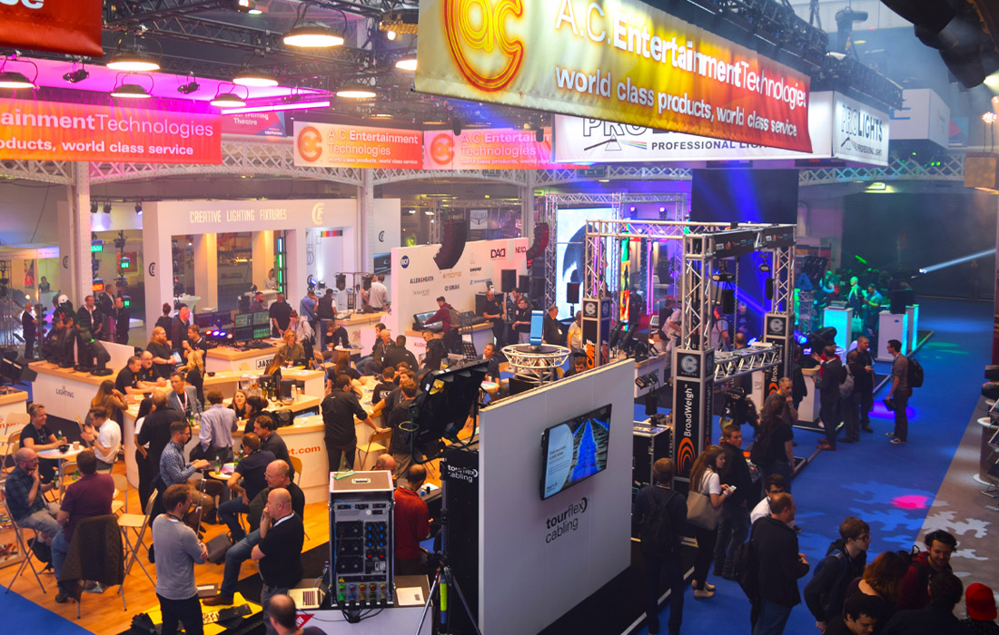 A busy floor with lots of Pro-AV displays at PLASA