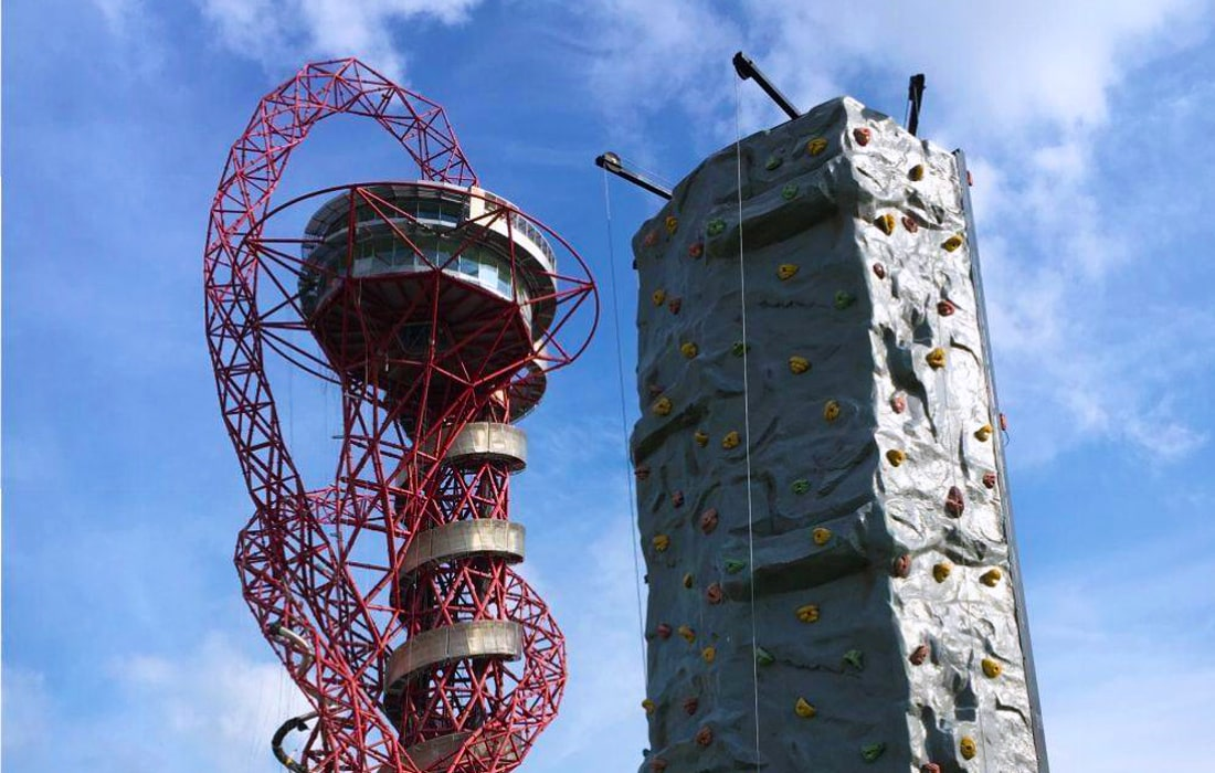 Their 24ft high Rock Climbing Wall stood befittingly beside the ArcelorMittal Orbit at Queen Elizabeth Olympic Park in Stratford, London.