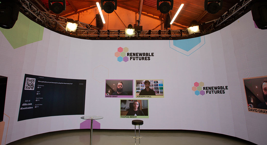 The curved screen available to use at The Virtual Venue