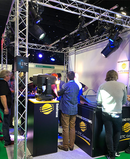 A busy stand for High End Systems demonstrating their impressive ETC lights.